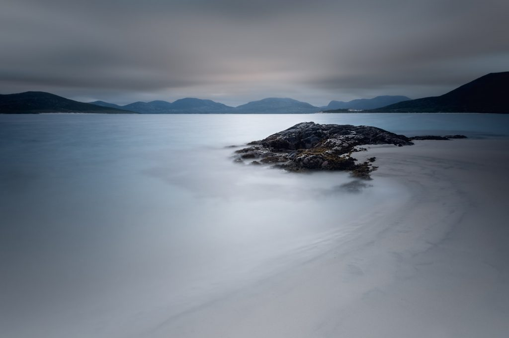 Elopement Photography featuring seascape showcasing Outer Hebrides mountains
