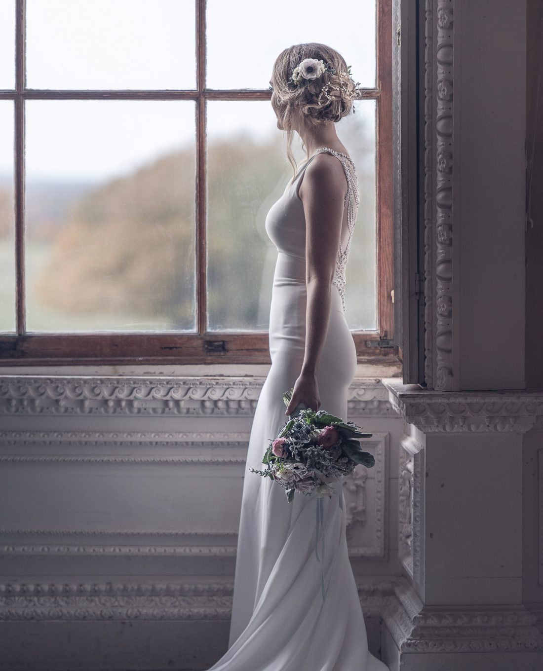 Wedding Photography featuring bride in ornate room of National Trust Claydon House
