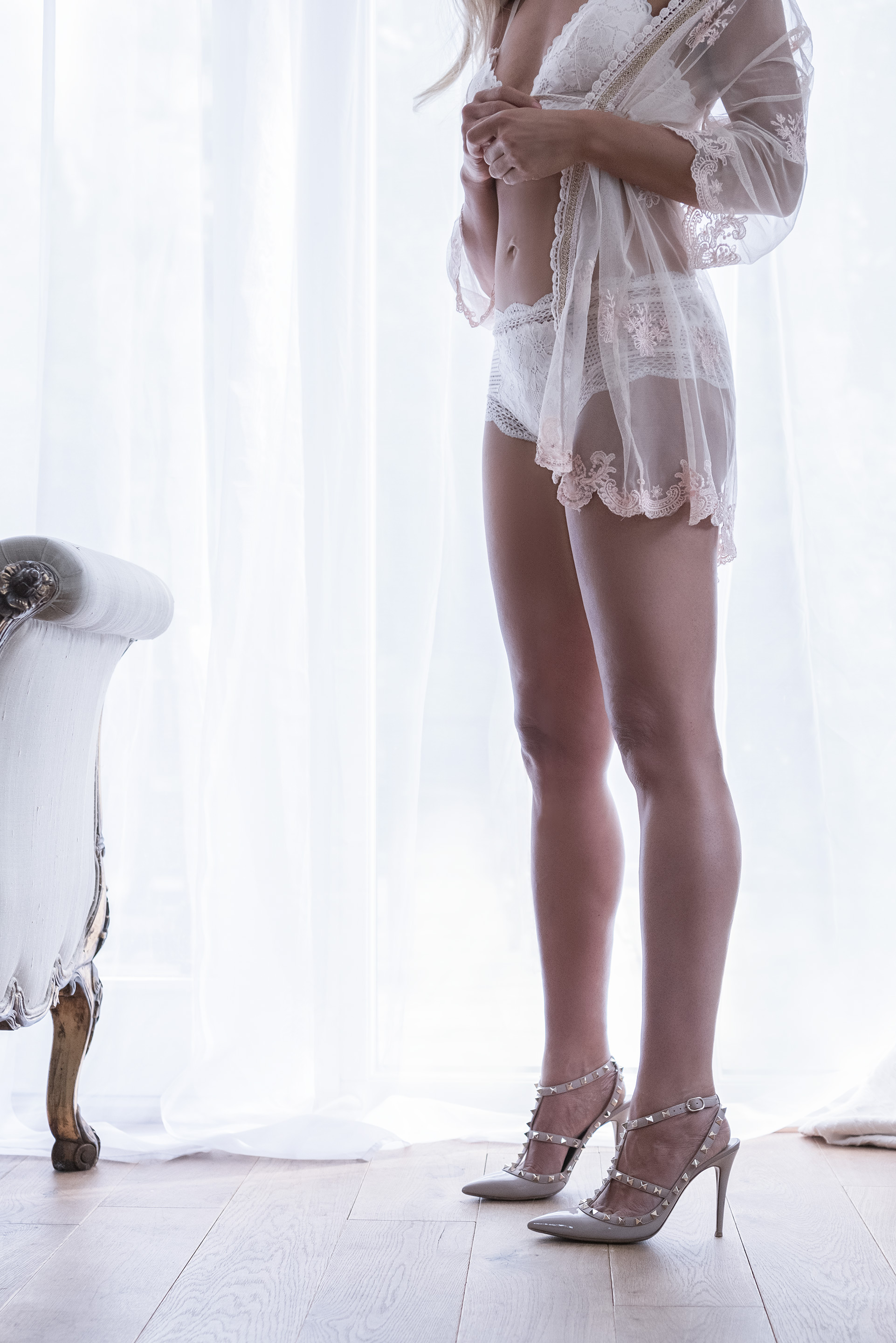 Bridal Boudoir Photography showcasing designer lace lingerie