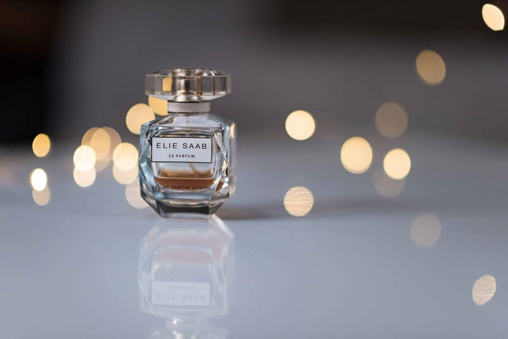 Elopement Photography featuring detailed shot of Elie Saab perfume